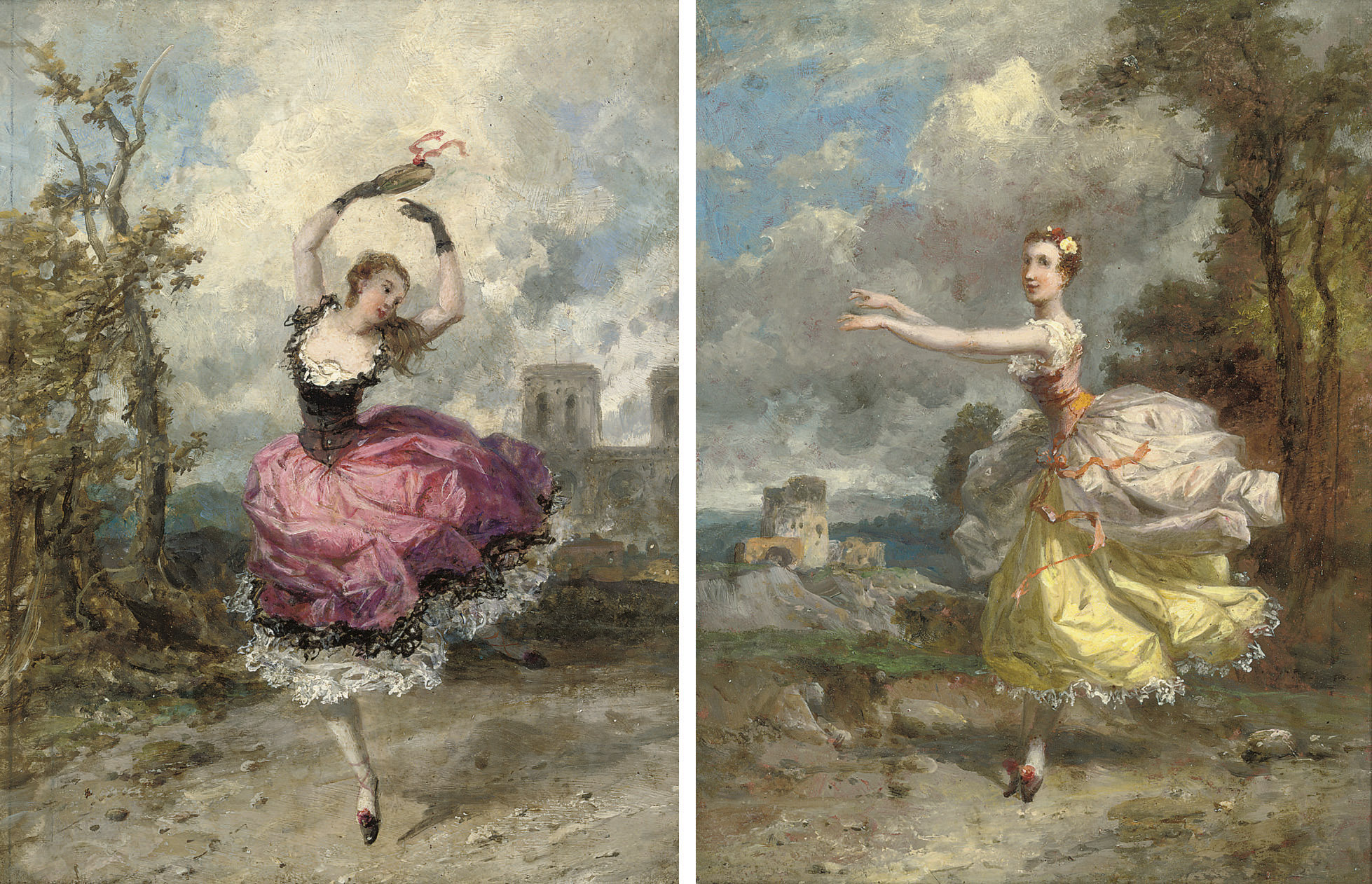 Carlotta Grisi as La Esmeralda at Her Majesty's Theatre, 1847; and Lucile Grahn as Orithia in Les Camp des Amazones at Her Majesty's Theatre, 1847