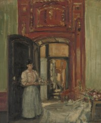 Interior with maid carrying a tray: Montreuil-sur-Mer, 1907