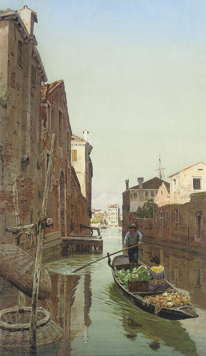 A gondola loaded with vegetables on a Venetian backwater