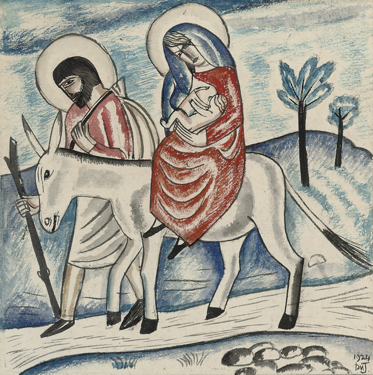 Mary and Joseph with baby Jesus and the donkey
