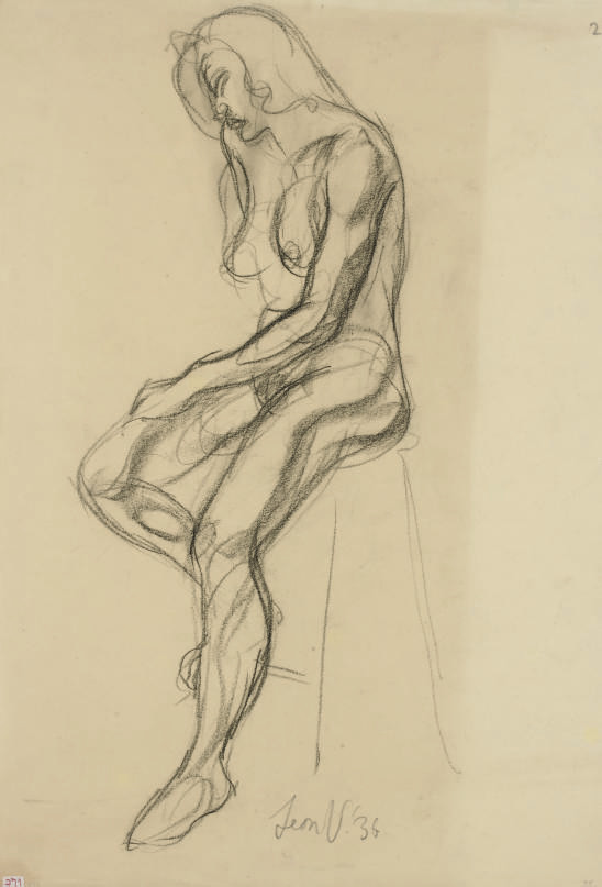 Figure study with 13 further figure studies and 1 lithograph by the same hand.
