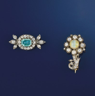 Two 19th century diamond and g