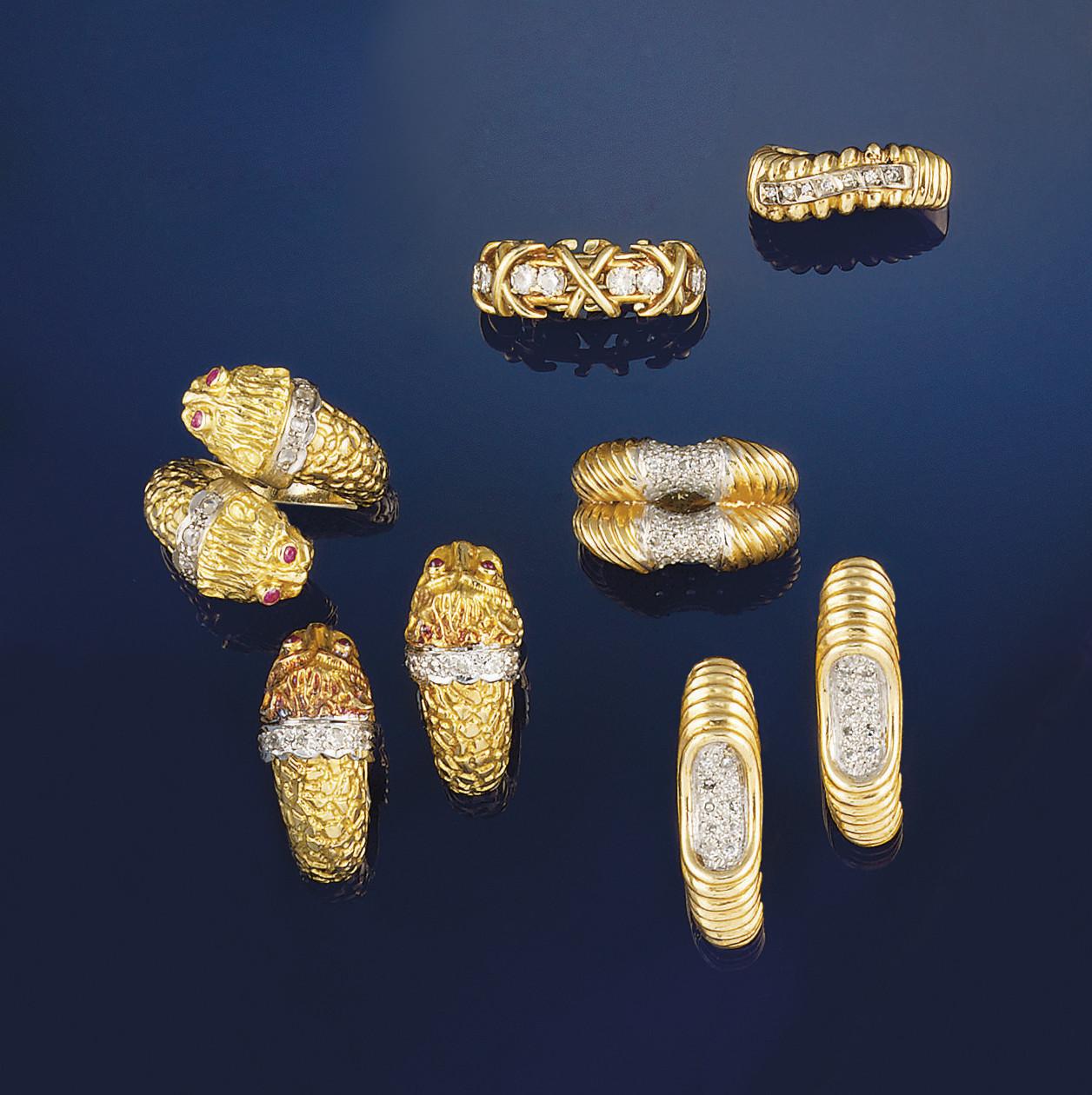 A group of diamond set jewelle