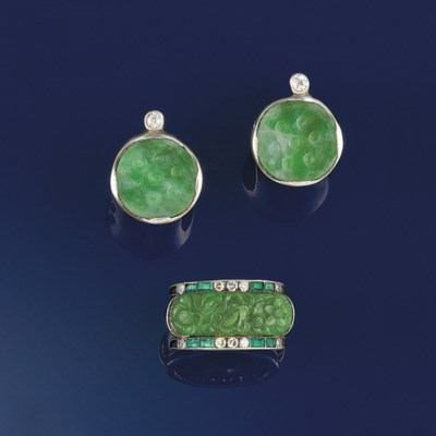 An Art Deco jadeite, diamond,