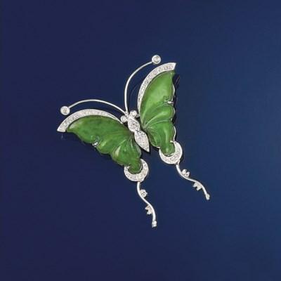 A jadeite and diamond butterfl