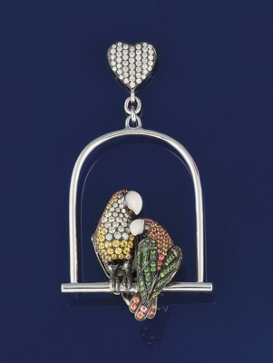 A diamond and gem twin parrot