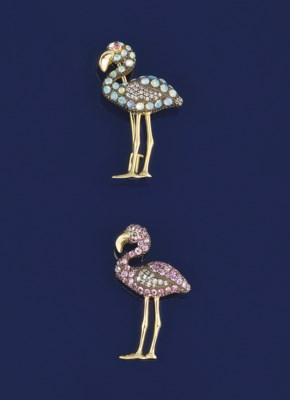 Two diamond and gem flamingo b
