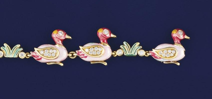 A diamond and enamel bracelet