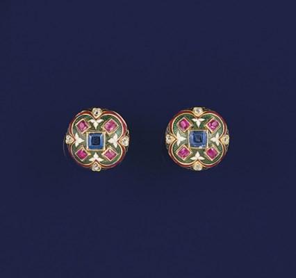 A pair of Victorian gold, diam