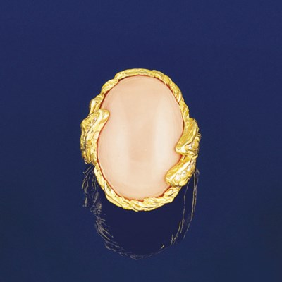 A coral and diamond ring, by W