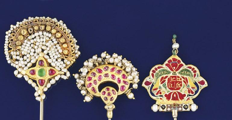Three Indian gem, seed pearl a