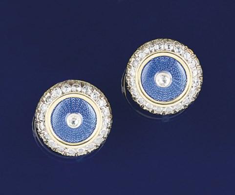 A pair of diamond and enamel e