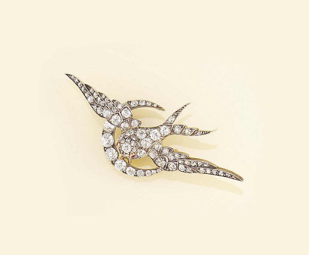 A Victorian diamond bird brooc