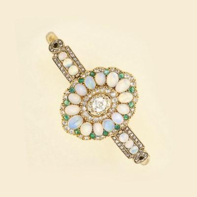 A Victoran diamond, opal and e