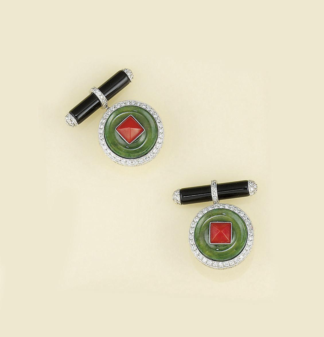 A pair of jadeite jade, coral,
