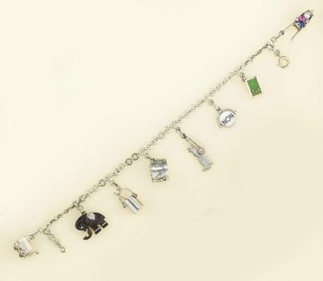 A platinum Charm bracelet