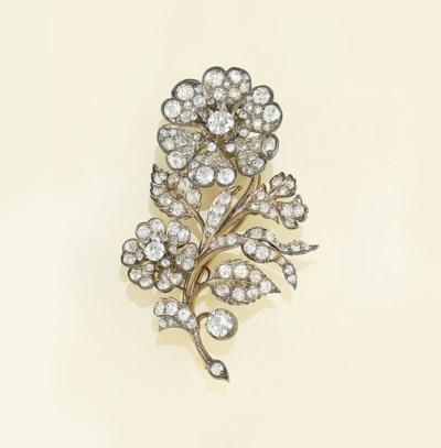 A late Victorian diamond brooc