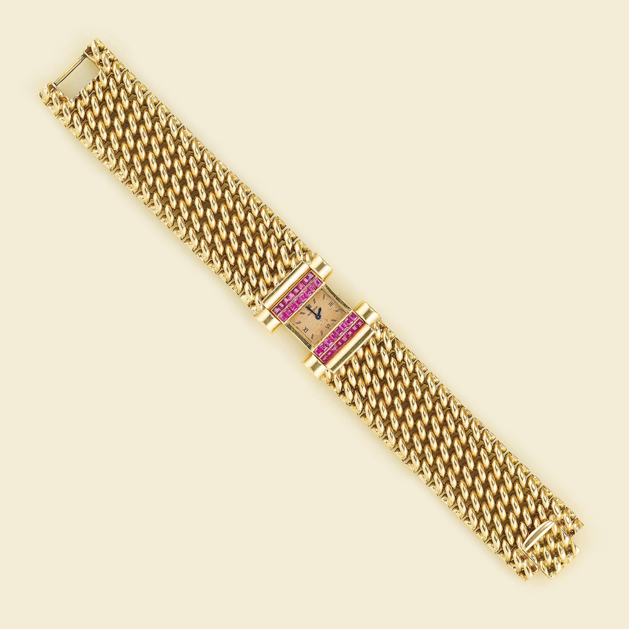 A lady's gold and ruby bracele