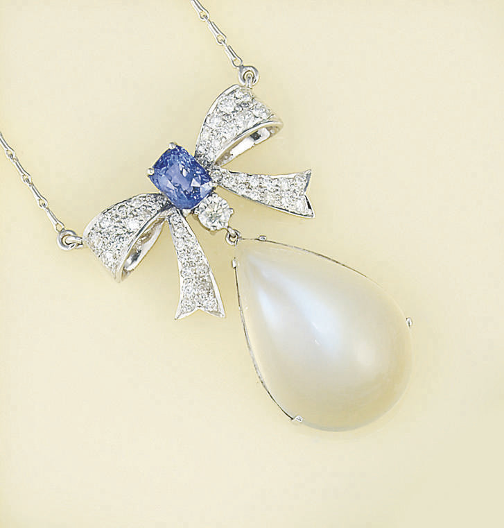 A moonstone, sapphire and diam