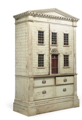A PAINTED DOLL'S HOUSE/BOOKCAS