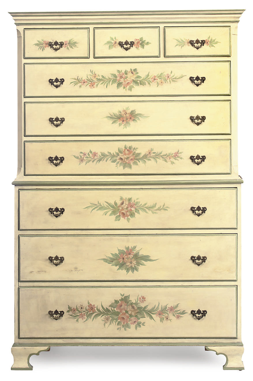 A POLYCHROME-DECORATED PINE CH