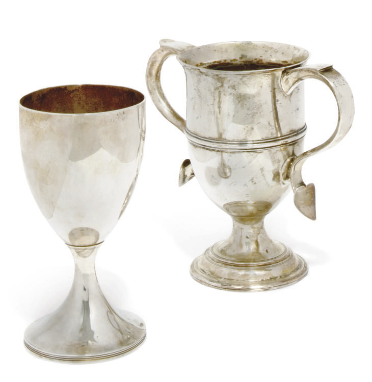 A GEORGE III SILVER TWO-HANDLED CUP