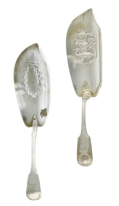 A GEORGE III SILVER FISH SLICE