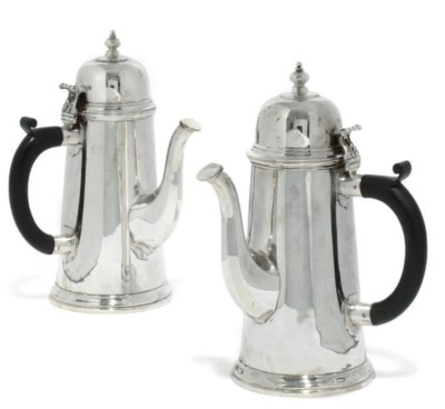 A MATCHED PAIR OF SILVER COFFE