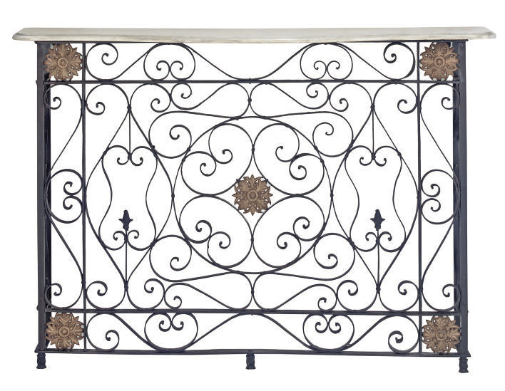 A BLACK PAINTED WROUGHT IRON M
