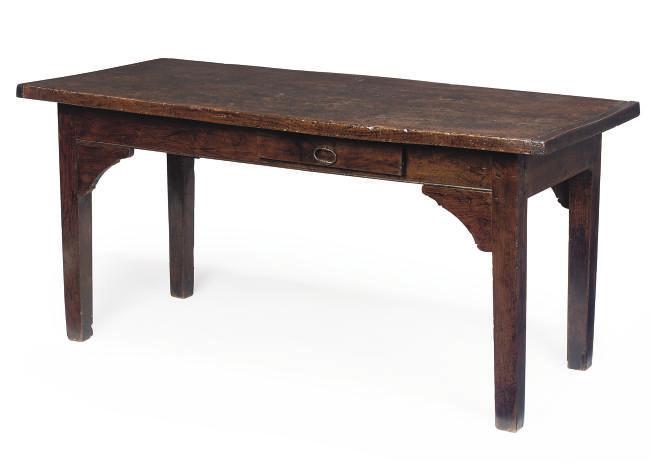 A FRENCH ELM FARMHOUSE TABLE