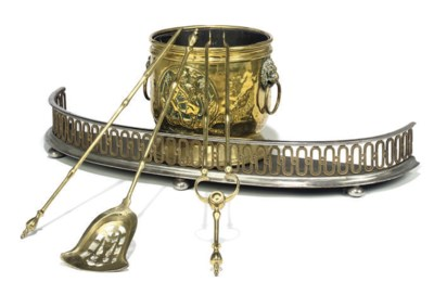 A VICTORIAN STEEL AND BRASS BO