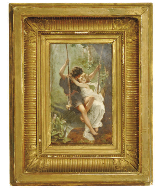 A FRENCH PORCELAIN FRAMED RECT