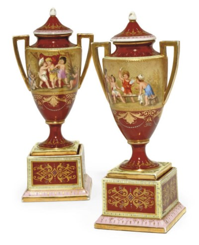 A PAIR OF VIENNA-STYLE CLARET-