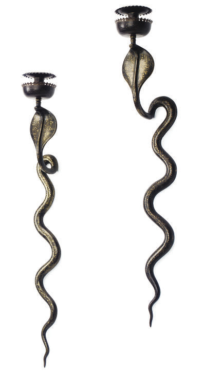 A PAIR OF INDIAN BRONZE SINGE-