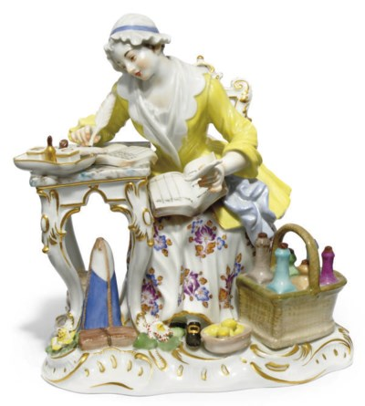 A MEISSEN FIGURE OF A HOUSE-KE
