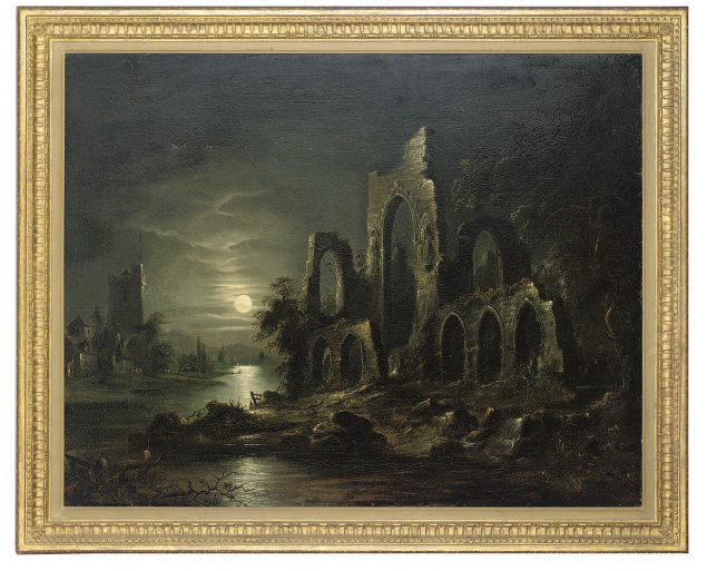 Ruined abbey by moonlight