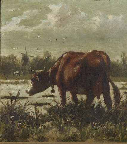 A cow in a landscape; and A cow by the water's edge