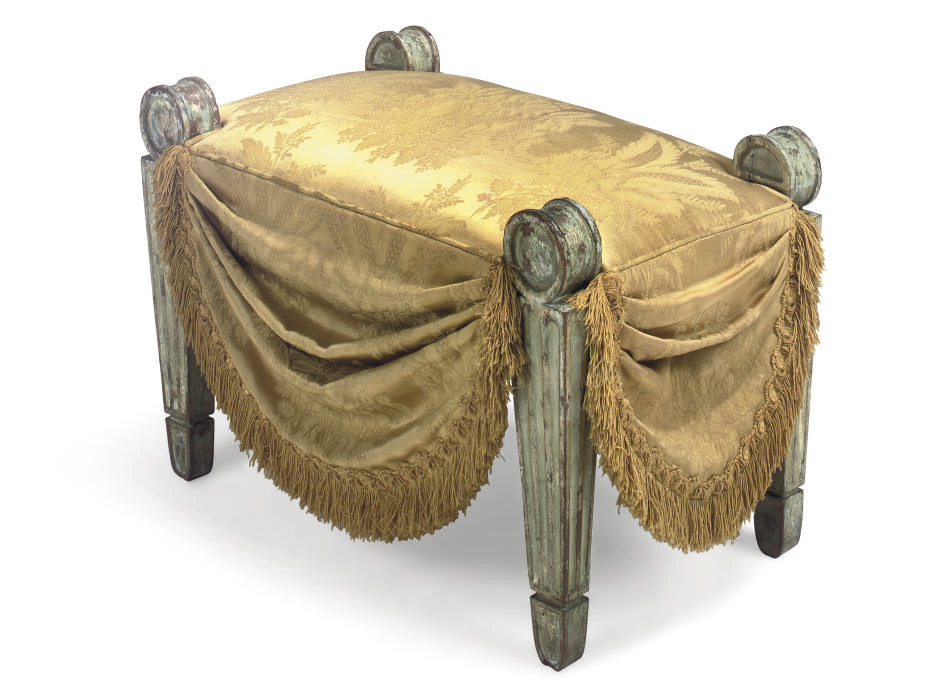 A REGENCY GREEN-PAINTED AND UPHOLSTERED STOOL