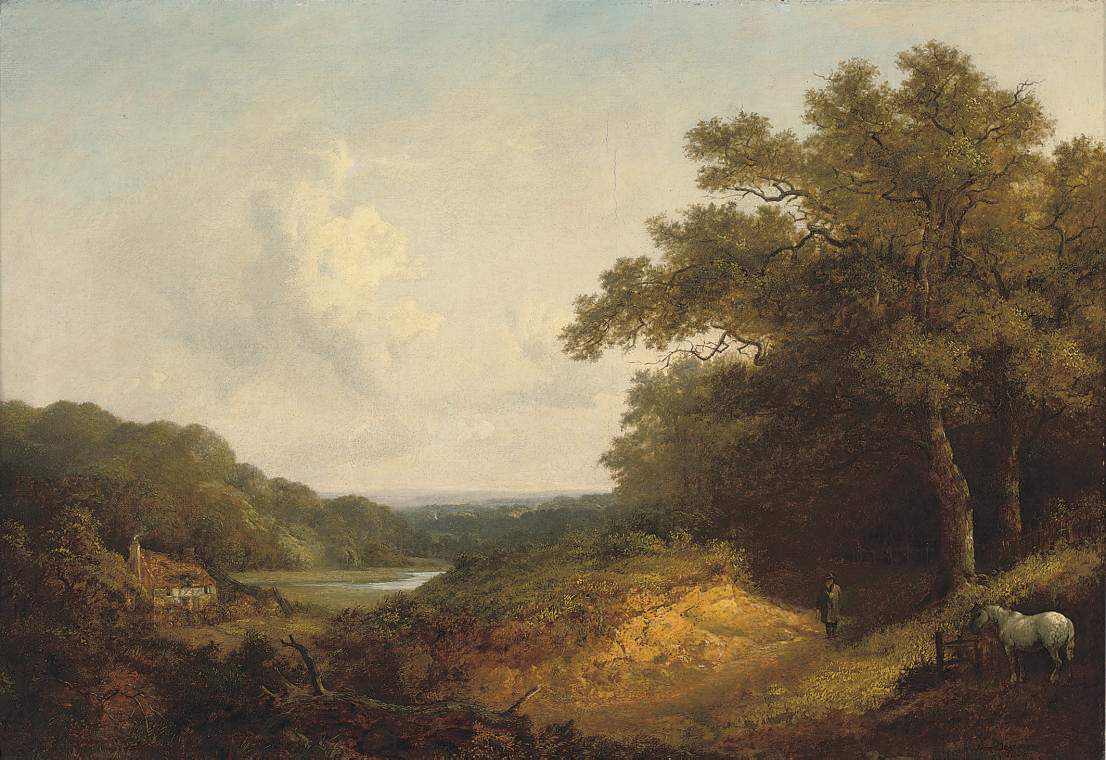Figure with a pony by a track in an extensive wooded landscape, near Guildford