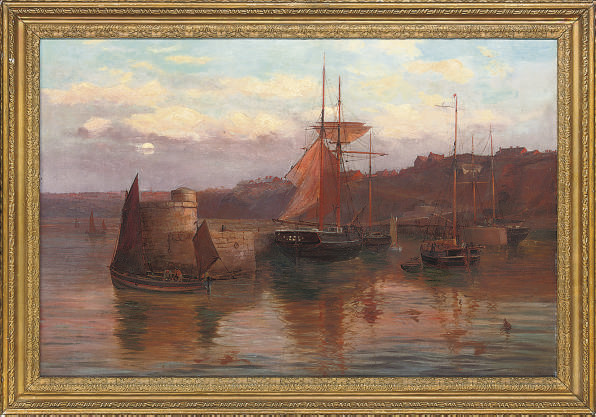 The fishing fleet moored at the quay, evening