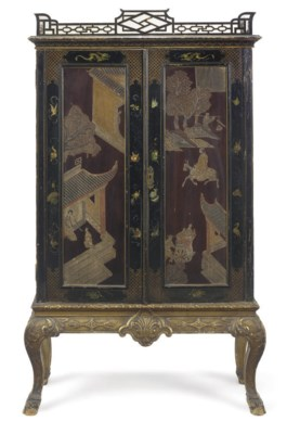 A LACQUER CABINET-ON-STAND