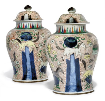 A PAIR OF CHINESE WUCAI BALUST