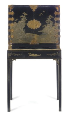 A CHINESE LACQUER CABINET ON L