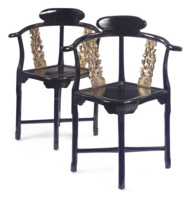 A PAIR OF CHINESE EBONISED AND