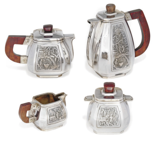 A CHINESE SILVER FOUR PIECE TE