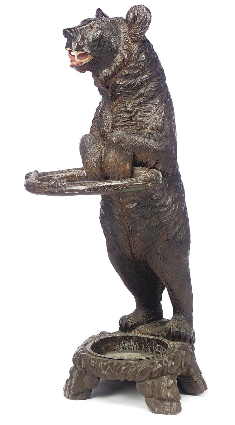 A SWISS WOOD 'BEAR' HALL STAND