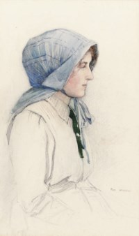Study of a young girl wearing a blue cotton bonnet