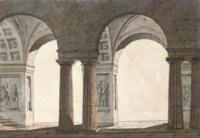 Technical designs with coffered vaulting and columns