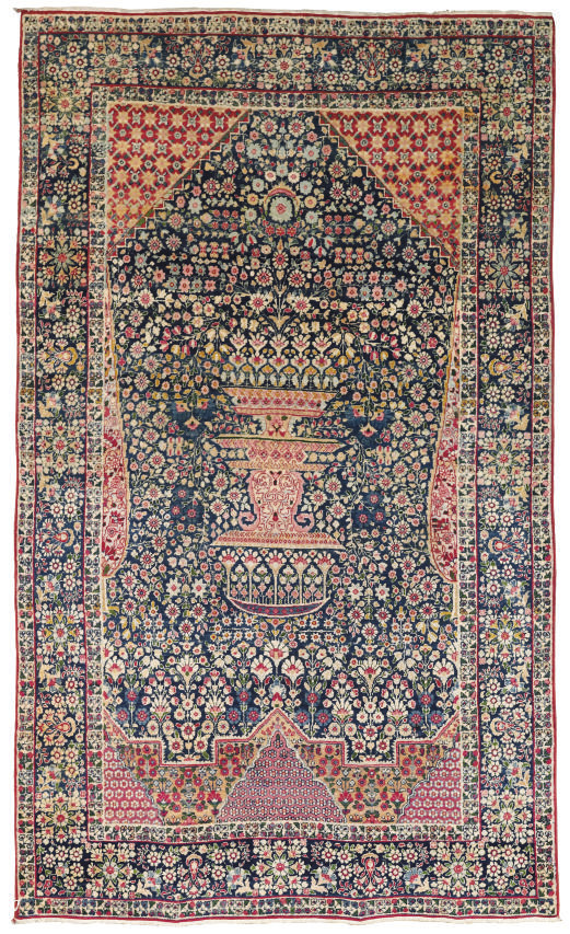 A fine Kirman Laver prayer rug