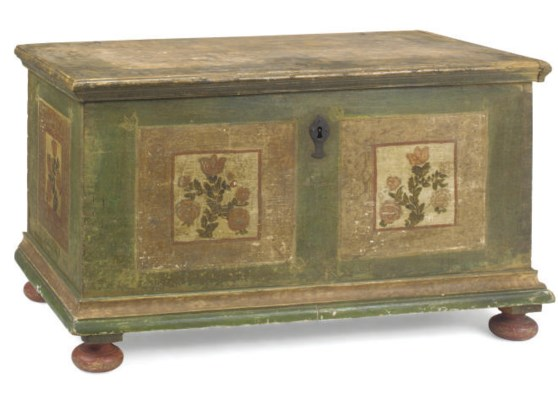 A GERMAN GREEN PAINTED TRUNK